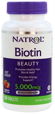 Natrol - Biotin 5000mcg Fast Dissolve (250таб) - фото 5646