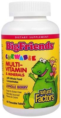 Natural Factors BigFriends Chewable multi-vitamin & minerals (60жев.таб) - фото 6434