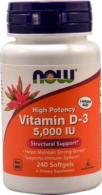 NOW - Vitamin D-3 5000 IU (120гел.капс) - фото 6680