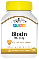 21st Century High Potency Biotin 800mcg (110таб)