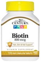 21st Century High Potency Biotin 800mcg (110таб)